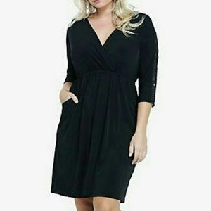 Torrid Lace Sleeves and Upper Back Black Dress 1X